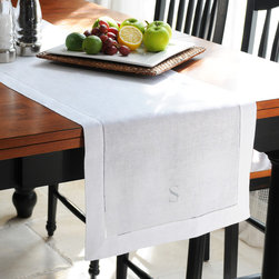 None - Personalized White Linen Hemstitch Table Runner - Let this white linen table runner bring an air of refinement to your dining room table. This classic table accessory is sure to impress with its crisp,high quality linen construction and single,block initial personalization.