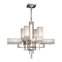 Fine Art Lamps - Perspectives Silver Chandelier, 733840-2ST - With eye candy this gorgeous above your dining table, who needs dessert? This elegant chandelier shimmers in a patinated golden bronze or muted silver-leaf finish of straight lines and right angles. And a cityscape of eight multitoned organza shades is sure to dazzle in modern-meets-old-world opulence.