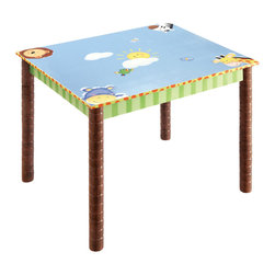 SUNNY SAFARI TABLE - Embark on a new adventure, whether it be storytelling, book reading, or board game playing, Teamson's Sunny Safari Table has room for it all. Surface is easy to clean and refreshing to look at. Supportive legs feature a jungle safari look with tree branches holding the weight of the table. Some assembly required, perfect for ages 3 and up.