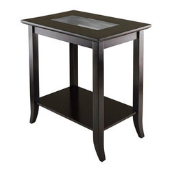 Winsome - Winsome Genoa Rectangular End Table with Glass Top in Dark Espresso - Winsome - End Tables - 92419 - Classic tapered legs and warm walnut brown finishes make this end table a must-have for your living room den or study. Tempered glass is inset in its top giving it a light transparent air. It's large enough for a table lamp and a good book or two. You'll want a pair for framing your leather sofa!