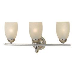 Premier - 3 Light Bathroom Vanity Fixture - Chrome - Premier Essen Lighting: Premier Essen 617509 3 Light Bathroom Vanity Light Chrome/Brushed Nickel Accent.