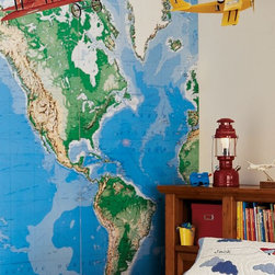 Jumbo World Map Mural - World travelers can find delight in this Jumbo World Map mural. It would be fun for the whole family in a living room or great for the adventurer in a bedroom.