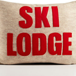 Ski Lodge Recycled Felt Applique by Alexandra Ferguson - Every ski lodge needs this graphic pillow.
