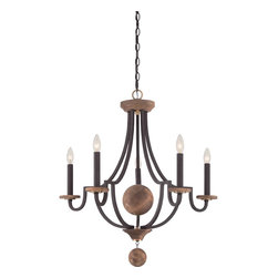 Living Room - The Wyndmoor chandelier features rustic design with an elegant twist. This 5-light chandelier features natural wood elements that are highlighted by the antique brass accents. The distinct details that set this design apart are completed by the rich Western Bronze finish.