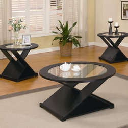 Coaster - 3-Pc Round Occasional Table Set - Includes one coffee table and two end tables. Contemporary style. X-shape base. Sleek glass top. Chic black finish. End table: 28 in. Dia. x 23 in. H. Coffee table: 40 in. Dia. x 20 in. H. WarrantyThe unique design of the table tops lets the bold X styling on the bases shine through, adding contemporary style and modern appeal to your living room.