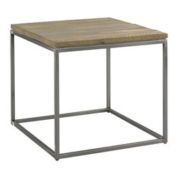 Sherrill Occasional - Sherrill Occasional Side Table 218-940 - New meets old in this rustic yet modern design featuring reclaimed barn wood in combination with a refined contemporary base treatment in a matte nickel finish.