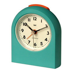 Bai Design - Turquoise Pick-Me-Up Alarm Clock - - Spray-painted ABS bezel  - 4-step volume increase, a snooze function  - Silkscreen-printed PVC dial with luminous  - Spray-painted metal hands  with luminous  - Build-in light bulb  - Quality German UTS silent movement with Lift-lite  Lift-snooze technology. Niteglow dial and hands.  - Assembly not required   - Manufactured in China  - Requires AA batteries Bai Design - 567.LA