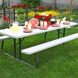 Lifetime Products 8 ft. Folding Putty Picnic Table - So ... much ... space! You won't know what to do with it all with the Lifetime 8 ft. Folding Putty Picnic Table. This table which comfortably seats ten is perfect for cookouts with friends or extended family. The super-strong polyethylene tabletop in neutral putty will endure use and abuse time and time again. A powder-coated steel frame in bronze will ensure safe support for all on board. To boot the rust-resistant all-weather finish will protect this baby from everything the clouds can muster. The table folds flat and will fit in your garage or shed for ease of storage during the blustery winter. Get grilling! This table measures 96L x 30W x 29H inches.About Lifetime ProductsOne of the largest manufacturers of blow-molded polyethylene folding tables and chairs and portable residential basketball equipment Lifetime Products also manufactures outdoor storage sheds utility trailers and lawn and garden items. Founded in 1972 by Barry Mower Lifetime Products operates out of Clearfield Utah and continues to apply innovation and cutting-edge technology in plastics and metals to create a family of affordable lifestyle products that feature superior strength and durability.