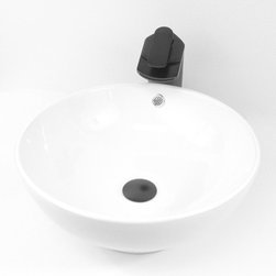"""TCS Home Supplies - Round White / Biscuit / Black Porcelain Ceramic Countertop Bathroom Vessel Sink - Countertop Bathroom Vessel Sink. Porcelain Ceramic. Available in White, Biscuit, and Black. Exterior Diameter 16-3/8"""". Interior Diameter 16"""". Depth 6-1/2""""."""