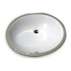 HIGHPOINT COLLECTION - 17x14 Glazed Bottom White Ceramic Sink - This 17 x 14 undermount ceramic vanity sink has a finished glazed bottom for use with open vanity installations.