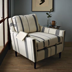 Everett Striped Chair - This comfy chair has a calm stripe pattern that can be added to just about any room. The low-slung design makes it perfect for a cozy place to read a book.