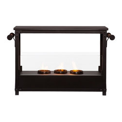 SEI - Layton Portable Indoor/Outdoor Fireplace - Add a gorgeous fireplace to your home quickly without the fuss of remodeling. This portable fireplace is ideal for a warm, cozy fire indoors or outdoors. This convenient fireplace offers the warmth and joys of a fireplace without wasting valuable space when not in use. FireGlo Gel Fuel snaps and crackles like real wood for the perfect fireplace experience; replace the gel fuel with decorative pillar candles for year round enjoyment. The patented design features handles for moving the fireplace with ease. Simplicity and portability are only two of the reasons why this fireplace is perfect for your home. The beautiful industrial design and simple lines blend with any transitional and contemporary decor. It's great for the family room and bedroom, and even adds a warm, romantic touch to the dining room or home office. Take it out to your patio to enjoy the warmth on a crisp day!