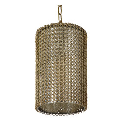 Kathy Kuo Home - Wendell Industrial Loft Brass Chain Mercury Glass Pendant Light - Bold, brass chain link enrobes this graceful, glass pendant light. Finished in an antique brass patina, the metal mesh complements the clear glass, allowing light to stream through. An adjustable chain allows perfect placement for this noble fixture.