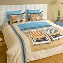 """ARTnBED - Beach Duvet Cover - """"Chairs on the beach"""" - We rest so well at the beach - Is it the fresh air? The sound of the waves? The salt on our lips?"""