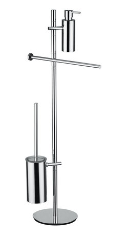"WS Bath Collections - WS Bath Collections Bloom 2807 Bathroom Accessory Stand - Bloom 2807, 15.4"" x 9.1"" x 36.2"", Bathroom Accessory Stand with Soap Dispenser, Toilet Brush Holder, Toilet Paper Holder, and Towel Bar in Polished Chrome"