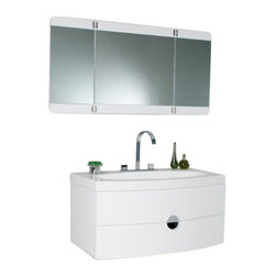 "Fresca - Energia White Vanity w/ Three Panel Folding Mirror Cascata Chrome Faucet - This vanity can fit anywhere.  At 36"", this vanity is ideal for adding some brightness or funk to your bathroom with its bright white color.  Ingenious basin design is brought together with a large, tri-hinged mirror- a great addition to catch those hard-to-see spots for that perfect shave or see all angles before putting down that mascara for a night out on the town.  That mascara and shaver rest in a clever, handsome, and chic storage solution underneath.  An ensemble that is sure to be a delight in function and in sleek design that really shines through in its simplicity from hardware to design."