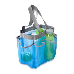 Honey Can Do - Blue 6 Pocket Shower Tote - Portable shower caddy. Blue with grey trim. 2-carrying handles, 6 compartments. 9 in. H x 8 in. W x 6 in. D