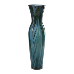Cyan Design - Cyan Design Tall Peacock Feather Vase in Multi Colored Blue - Tall Peacock Feather Vase in Multi Colored Blue