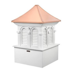 Good Directions Smithsonian Alexandria Vinyl Cupola - The Good Directions Smithsonian Alexandria Vinyl Cupola presents you with a unique way to make your home stand out among the crowd. Give your roofline a European flair with this handsome cupola, featuring a sloped roof and arched louvers. Sturdy vinyl planks and boards are used to create the base, meaning the unit won't warp in extreme weather. Beautiful 24-gauge copper panels the roof, featuring an option to install a weathervane. Customize the cupola with paint of your choice or display as is. 26, 30, 36, 48, an 60-inch square units are available to choose from. Instructions for mounting the unit are included. Mounting hardware for a weathervane attachment is also included.About Good DirectionsGood Directions got its start by creating weathervanes and cupolas, but it has expanded its line to include a wide range of decorative yet functional products for the home and garden, including popular Fire Domes, rain chains, and garden weathervanes. The company continues to attract innovative artists and designers eager to lend their vision to the creation of exceptional products to enhance the home, both indoors and out. No matter which way the wind blows, you can count on Good Directions to show you the way to a beautiful home.