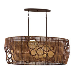 Corbett Lighting - Corbett Lighting Havana Contemporary Kitchen Island / Billiard Light X-65-921 - This Corbett Lighting Havana contemporary kitchen island/billiard light has an interesting design. It's a unique piece that features a simple, wrought iron frame which supports a drum-shaped, hand woven abaca shade. The shade is designed with circular patterns and best of all, it's environmentally friendly.