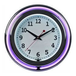 Trademark Global - Double Ring Neon Clock - Includes AC adapter and two neon rings. Inner white and outer purple neon ring. High grade glass cover. Accurate quartz AA clock movement. UL listed. No assembly required. 14 in. Dia. x 3 in. H (7 lbs.)