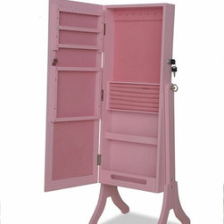 """ACMACM97069 - Jada Pink Finish Rectangular Shaped Free Standing Cheval Mirror Jewelry Armoire - Jada pink finish wood rectangular shaped Free standing cheval mirror jewelry armoire cabinet. Measures 16"""" x 13"""" x 41""""H. Some assembly required."""