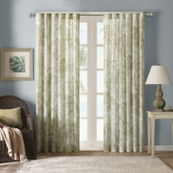 E & E Co., Ltd. - Harbor House Palm Sheer Window Curtain Panels - Be whisked away to a tropical oasis from the comfort of your home with the Harbor House Palm print sheer window curtain panel. The panels feature a palm tree leaf print and textured fabric to provide a luxurious appearance.