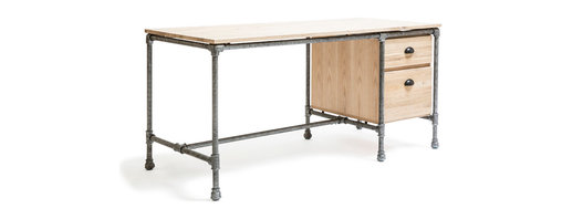 5 Horizons - Griffin Desk - Crafted from solid oak timbers and steel reinforced accents, the Griffin collection is sure to add a utilitarian edge to any setting.  Whether in an urban loft in the city or in a cozy cottage in the country, this collection makes a statement with its mix of materials and modern yet rustic feel.
