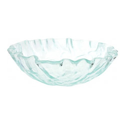 """Eden Bath - Clear Freeform Wave Glass Vessel Sink - Material: Double Layer Tempered Glass; Color: Clear; Dimensions: 16.5"""" Diameter X 5.75""""H; Thickness: 0.75""""; Drain Hole: 1.75"""" - No Overflow; Weight: 15 lbs; Installation: Top Mount; Not Included: Mounting Ring, Pop Up Drain & Faucet."""