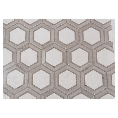 Mission Stone Tile - Hex Appeal Mosaic, Ivory and Athens Silver Cream Marble, Sample - Apparently, there are now six sides to every story.
