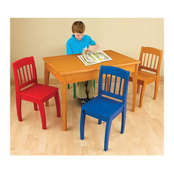 """KidKraft - Kidkraft Kids Room Decorative Space Saving Euro Honey Table And 4 Chairs Set - Our Euro Table and 4-Chair Set provides kids with a wide-open space for eating, learning and playing together. With its fun, vibrant colors and smart design, this wooden furniture set would be perfect for any household with children. Dimension: Table: 35.4""""x 23.6""""x 24"""", Chair: 13.4""""x 11.4""""x 26.4"""""""
