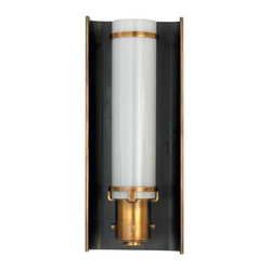 Greenwich Glass Sconce in Bronze and Hand-Rubbed Antique Brass