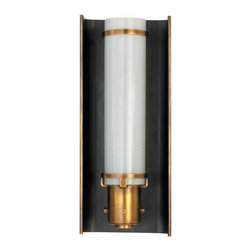 Greenwich Glass Sconce, Bronze and Hand-Rubbed Antique Brass - Frame your fireplace or bathroom mirror with antique-style sconces for a defining look. The combination of glass and hand-rubbed brass adds elegance to any room and the classic design will surely stand the test of time.