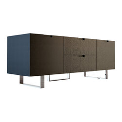 Modloft - Eldridge Media Cabinet, Wenge - The Eldridge media cabinet, with its ultra clean lines, spans just over 5' long - a perfect fit for tight spaces. With two center drawers that measure 22W x 15D, and two side cabinets (17W x 16D x 14H) there will be plenty of room for storage. Each side cabinet includes an adjustable middle shelf (.5 thick). Smooth cabinet doors open to an A/V-ready compartment complete with rear ventilation/wire holes. Minor assembly required (legs detached). Available in wenge or walnut wood finishes. Also available in white lacquer finish. Imported.