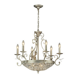 Elk Lighting - Elk Lighting Andalusia Collection 6+3 Light Chandelier In Aged Silver - 11696/6+ - 6+3 Light Chandelier In Aged Silver - 11696/6+3 in the Andalusia collection by Elk Lighting The luxuriousness of filigree crystal is unmistakable.  The Andalusia collection features our glass bead-lined scrolled iron frame enhanced with shimmering crystals and an Aged Silver finish to blend with a multitude of design themes.  Chandelier (1)