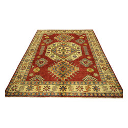 Manhattan Rugs - New Antiqued Hand Knotted Kazak 5'x7' Mesa Geometric Red & Ivory Wool Rug H3419 - This is a true hand knotted oriental rug. it is not hand tufted with backing, not hooked or machine made. our entire inventory is made of hand knotted rugs. (all we do is hand knotted)