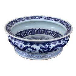 Oriental Danny - Chinese Basin - Hand painted blue and white porcelain basin. Dragon design and painted throughout. Flared lip, great for centerpiece and flower arrangement