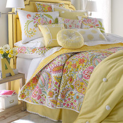"Dena Home - Dena Home Yellow Pillow with White Scroll Border, 16""Sq. - Dress her bed in cheery ""Sunbeam"" linens. All are made of cotton. Spot clean pillows; machine wash linens. Imported. Quilt is available in a multicolored paisley print or in yellow with white pom-pom tufting. Standard shams come in pairs. Set includes..."