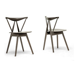 Wholesale Interiors - Mercer Brown Wood Modern Dining Chair-Set of - Set of 2. Dark brown wood. Relatively small in size. Non-marking feet. Indoor use only. Fully assembled. Made in China. 19 in. L x 17.5 in. W x 28.88 in. H (9.25 lbs)