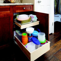 Kitchen Pull Out Shelves - Single-height shelf on top of a double-height shelf with shelf dividers to create compartmentalization.