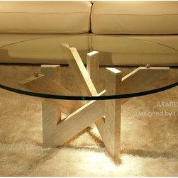 Livingroc - Round Marble Coffee Table 39 x 15  Travertine - ARABESQUE -