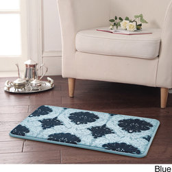 None - Newport Memory Foam 17 x 24 Bath Mat - This beautiful Newport Memory Foam Bath Rug represents the classic-meets-modern style, this glamorous mat features a medallion pattern atop a soft, absorbent cotton pile. Its rubber backing ensures stay-put placement.