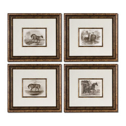 Uttermost - Uttermost Horses 19x17 Rectangular Framed Art (Set of 4) - Accented by White Mats, these Prints are Surrounded by Bronze Leaf Frames with a Black Wash. Matching Fillets are Around Inner Edges of Mats. Prints are under Glass.