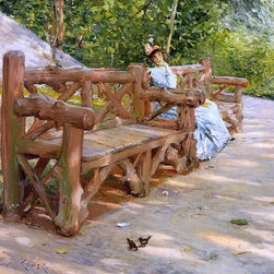 """William Merritt Chase A Park Bench (An Idle Hour in the Park Print - 18"""" x 24"""" William Merritt Chase A Park Bench (also known as An Idle Hour in the Park - Central Park) premium archival print reproduced to meet museum quality standards. Our museum quality archival prints are produced using high-precision print technology for a more accurate reproduction printed on high quality, heavyweight matte presentation paper with fade-resistant, archival inks. Our progressive business model allows us to offer works of art to you at the best wholesale pricing, significantly less than art gallery prices, affordable to all. This line of artwork is produced with extra white border space (if you choose to have it framed, for your framer to work with to frame properly or utilize a larger mat and/or frame).  We present a comprehensive collection of exceptional art reproductions byWilliam Merritt Chase."""