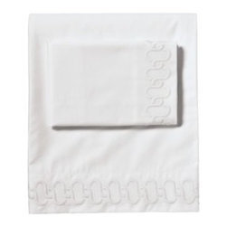 Serena & Lily - Savoy Links Embroidered Sheet Set White - There's nothing that makes us happier than an all-white bed, and this look is such a luxurious basic. The impeccably stitched motif was inspired by an ornate banister that once caught our eye.