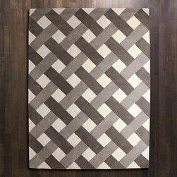 Global Views Arabesque Rug Grey Ivory 8 x 10 - Basket Weave Rug-Grey-8' x 10'