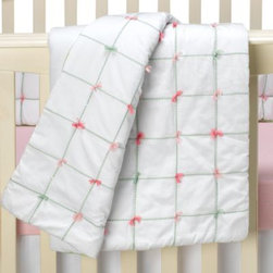 Whistle & Wink - Whistle & Wink Tufted Nursery Baby Quilt - This charming baby quilt features decorative stitching and hand tufting to create a lovely addition to your baby's nursery. Delicate green and pink accent the quilt creating the perfect finishing touch.