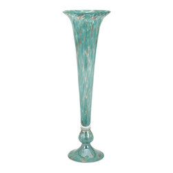 iMax Corporation - Marion Tall Glass Fluted Vase - Whatever the twists and turns of fashion, this slender fluted art glass vase will stand the test of time in shades of turquoise shot with copper.