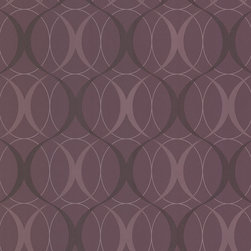 Circulate Purple Retro Orb Wallpaper. - A decadent plum hue immediately establishes this mod wallpaper as a style icon. The retro orb design is stroked with a fine shimmer for extra impact.