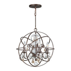 Crystorama - Crystorama CTR-9025-EB-GS Solaris Chandelier - Crystal chandeliers are glamorous and old Hollywood. We have expanded our best selling Solaris Collection to add crystal elements inside the perfect sphere. We have married the contemporary sphere with the cut crystal chandelier, making the most beautiful jewelry for the room.